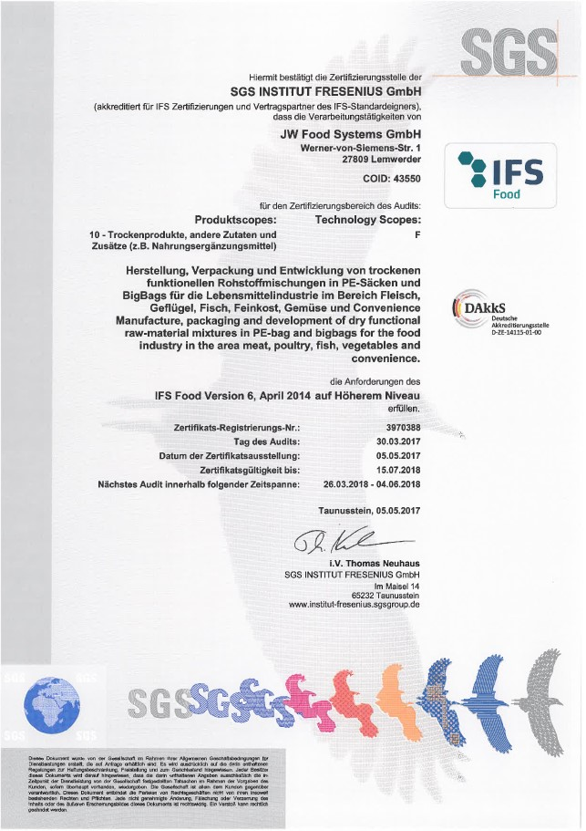 FOOD SYSTEMS   certificate